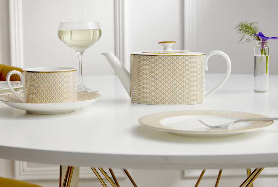 Diamond Collection teapot, cup and saucer and plate