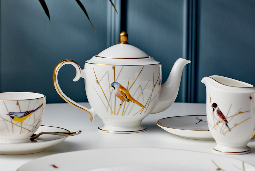 Bone china cup and saucer, teapot and jug from the Reed Collection
