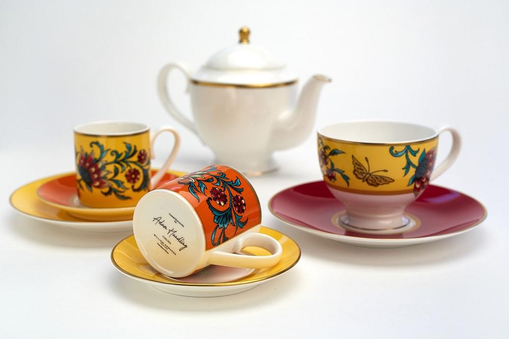 Bespoke bone china afternoon tea set for Belmond Cadogan Hotel with Adam Handling backstamp
