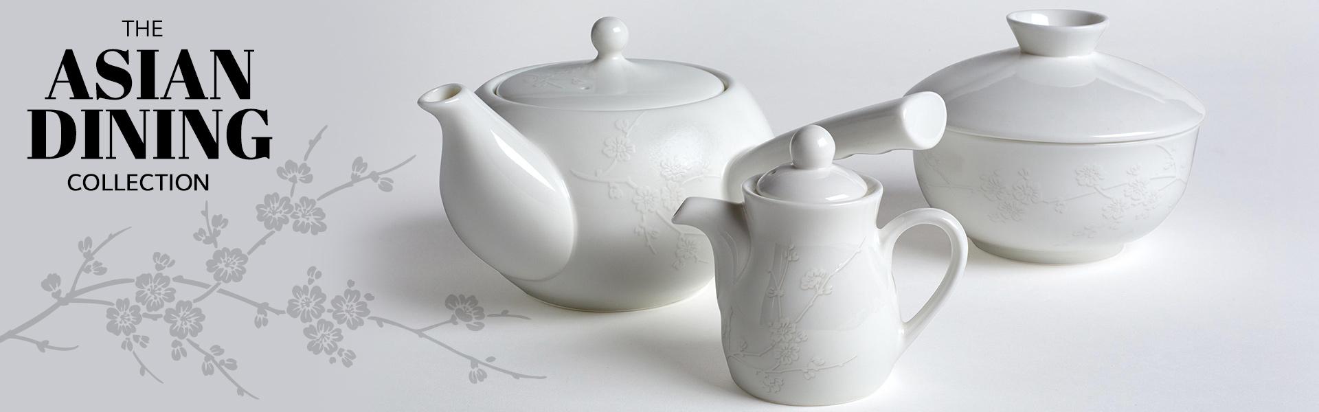 bone china oriental teapot, soy bottle and lidded bowl