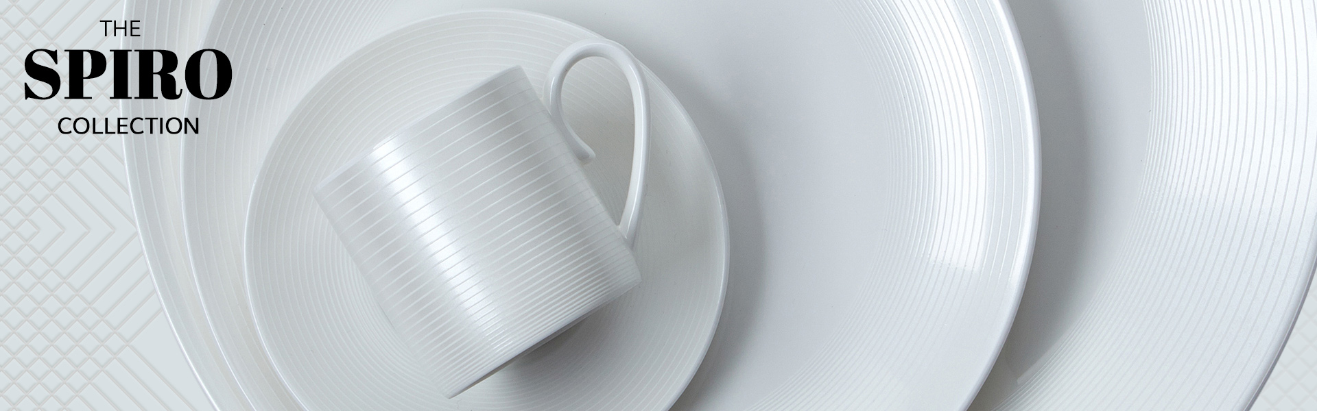 stack of bone china plates and a cup